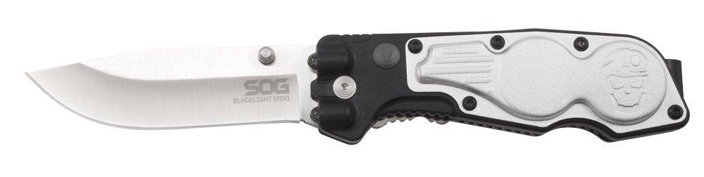 SOG BladeLight Mini Folding Knife w/Light BLT60-CP - Built-in 4 LEDs, Satin Polished, Aluminum & GRN Handle, 3'' Blade