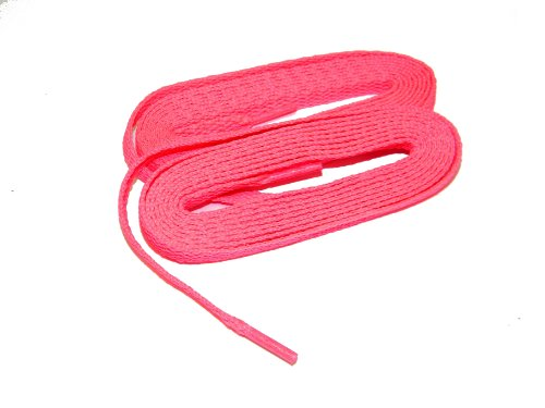 Fashionable Neon Pink 8mm Flat Chuck Taylor Style Athletic Trainer Shoelaces - (2 Pair Pack) (60 Inch 152 cm, BCA Pink)