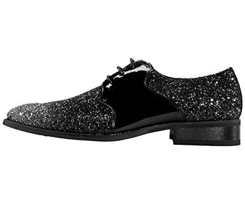 Amali Gradey - Mens Shoes - Oxford Shoes for Men - Tuxedo Shoes - Formal Shoes for Men, Black, Two Tone, Glitter, Sparkle - Mens Dress Shoes; Runs Big GO Full Size UP