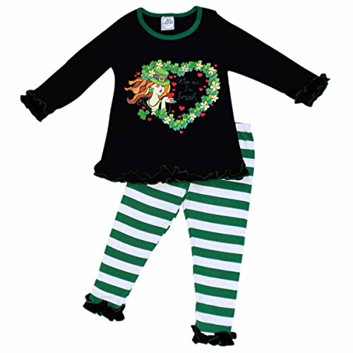 Unique Baby Girls St Patrick's Day Kiss Me I'm Irish Outfit (8/XXXL, Green) (Leprechaun Outfits)
