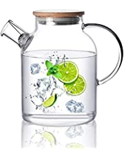 CnGlass Glass Teapot Stovetop Safe, Clear Glass Pitcher with Removable Filter Spout for Loose Leaf and Blooming Teabag…
