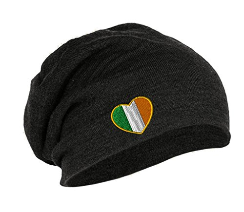 Heart Ireland Flag Embroidery Embroidered Slouch Long Beanie Skully Hat Cap Dark (Heart Flag Embroidery)