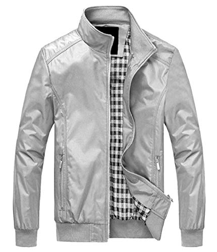 Sleeve Outwear Collar Grey Slim Jacket Stand Bomber Fit Men's Gocgt Casual Long pwq0TPvcgZ