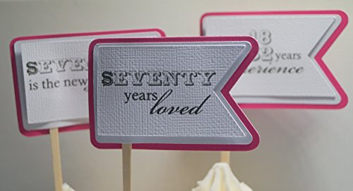 All About Details Taffy Pink 70th Birthday Quotes Cupcake Toppers, Set of 12