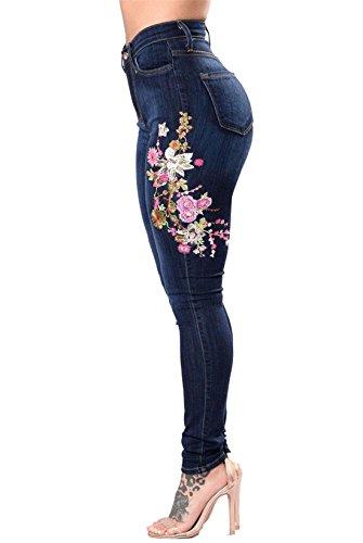 Dunland elástico Elásticos Pantalón el Roto Skinny Vaqueros vaquero Jeans Mujer bordado BrqHB