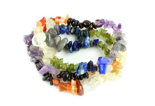 Chakra Energy Natural Gemstone Elastic Bracelet, (Set of 3 Strands) (Strand Abalone)