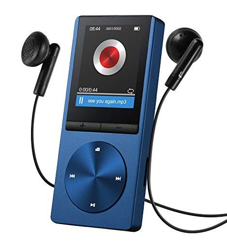 Lecteur MP3 8Go, VicTsing Aluminium MP3 Player Ultra-longue Autonomie Baladeur avec un écran de 1,8 Pouces,Brassard Sport Inclus - Bleu