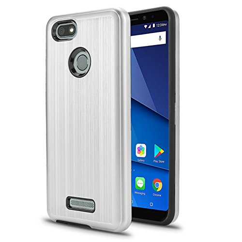 BLU Vivo XL3 case, (V0250WW) 5.5 inch case, [ New Frontier Wireless], Tough Hybrid + Dual Layer Shockproof Drop Protection Metallic Brushed Case Cover for BLU Vivo XL3 case (VGC Silver)
