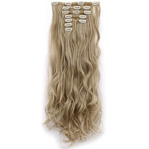 (Lelinta 3-5 Days Delivery 7Pcs 16 Clips 24 Inch Wavy Curly Full Head Clip in on Double Weft Hair Extensions, Ash Blonde Mix Bleach Blonde, 24 Inch-160g)