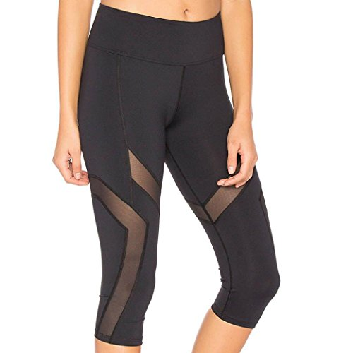 2019 New Women's Patchwork Mesh Capri Leggings Power Flex Extra Soft Workout Yoga Pants by E-Scenery (Black, Medium)