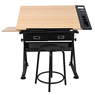 Super Deal Drafting Desk Drawing Table Desk - Height Adjustable - Tiltable Tabletop - Padded Stool - Two Drawer for Reading, Writing, Art Craft Work Station (Wood)