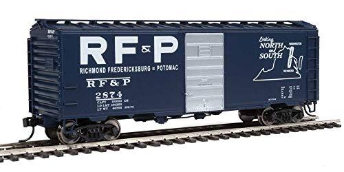 40' PS-1 BOXCAR - READY TO RUN -- RICHMOND, FREDRICKSBURG & POTOMAC 2874 (BLUE, SILVER, WHITE - LINKS LOGO)