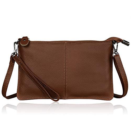 Befen Women Leather Wristlet Wallet Shoulder Crossbody Bag Clutch Purses with 6 Card Slots/Wrist Strap/Crossbody Strap - Brown