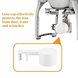 Powerextra Protective Durable Plastic Camera Lens Cap Cover + Flower Petal Lens Hood + Carbon Fiber Gimbal Guard for DJI Phantom 3 Advanced, 4K and Professional Drone