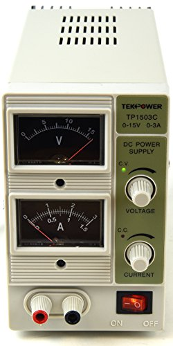 Tekpower TP1503C, 15V/3A Linear DC Power Supply, Analog Display With Alligator Banana Connector