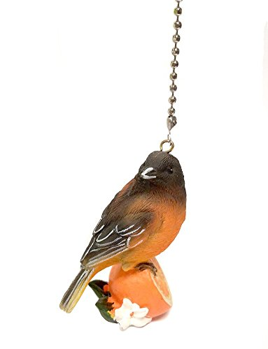 Bird Ceiling Fan Pulls Light Extension (Baltimore Oriole Bird) by WeeZ Industries