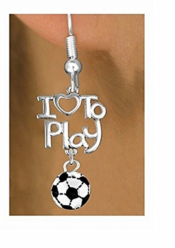 Beautiful Silver Tone I Love To Play & Mini Soccer Ball Charm Earrings by Lonestar Jewelry