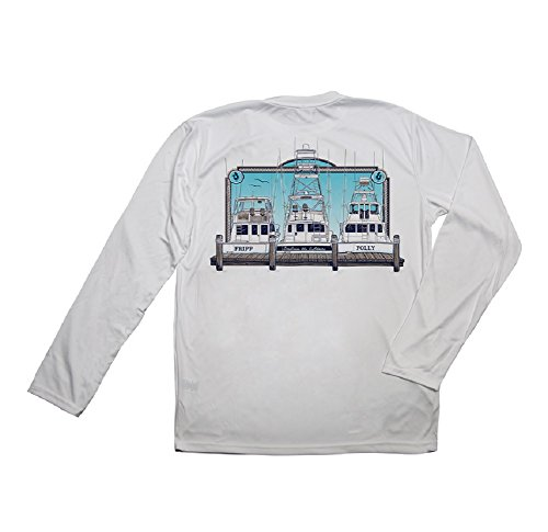 Fripp&Folly, Fishing Boats, Pearl Grey Pure-tech, XX Large, Long Sleeve T-Shirt