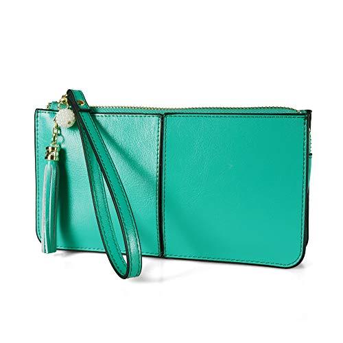 Smartphone zipper wallet Befen Women Leather Zipper Wallet Case with Credit Card Holder/Cash pocket/Wristlet - Mint