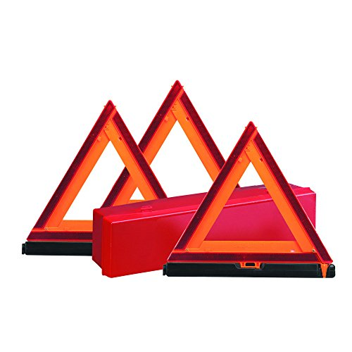 (Deflecto Early Warning Road Safety Reflective Triangle Kit, Folding Design, Fluorescent Orange, Plastic, with Storage Box, 3 Pack (73-0711-00))