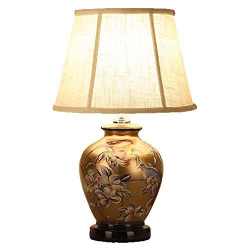 SACYSAC Ceramic Table lamp, Oriental Ceramic Table lamp Bedroom Bedside lamp Living Room Study Ceramic Table lamp,2 ()