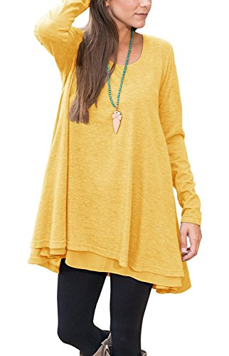 Yellow Tunic Dress (Womens Long Sleeve Swing Dress Shirt Scoop Neck Tunic Loose Fit Tunic Blouse Tops With Layered Hemline)
