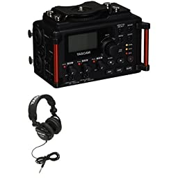 TASCAM DR-60DmkII DSLR Audio Recorder with TASCAM headphones bundle