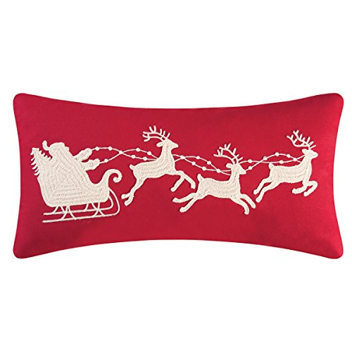 Crewel Bedding (C&F Home Santa's Sleigh Crewel Embroidered Holiday Throw Pillow, Red, 12