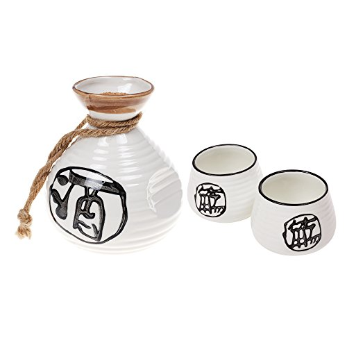 Japanese Character Set (Kloud City ® Pack of 3 Japanese Ceramic Sake Set with Alcohol Character For Couple)