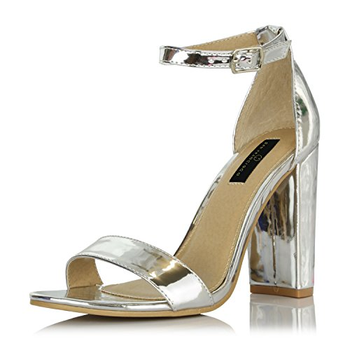 Heel Pumps Stacked Round Toe (DailyShoes Women's Chunky Stacked Heel Sandal Open Toe Classic Wedding Pumps with Buckle Ankle Strap Casual Sandals Shoes, Silver Patent, 5.5 B(M) US)