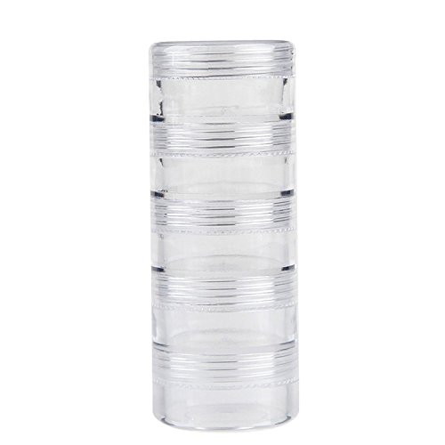 Duttek 5 Layer Joint Stackable Round Plastic Storage Container Box Super Clear Accessories Organizer Box for Beads Crafts Findings Other Small Items 1.5 Round