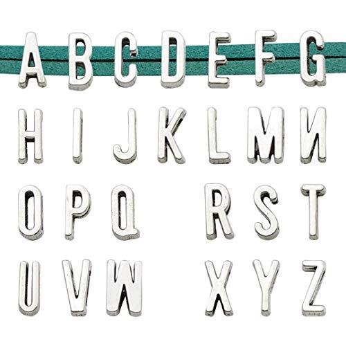 Youdiyla 5 Sets Alphabet Slide Letter Charm, Width 11mm, Antique Silver Tone, Flat Leather Bracelet