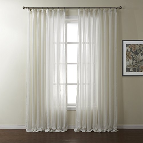 100″ W x 96″ L (Set of 1 Panel) 15 Sizes Available Jacquard Polyester Sheer Curtain Pleated Top Energy Efficient Curtain Window Treatment Draperies & Curtains Panels