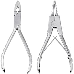 JOVIVI 2pc 316L Surgical Steel Small CBR Hoop Ring Opening and Closing Pliers Body Piercing Tool Kit
