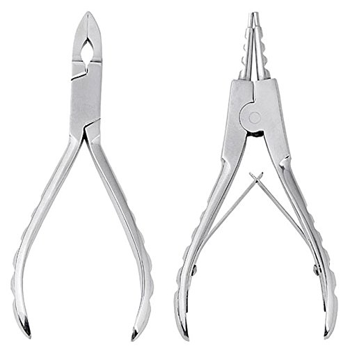 JOVIVI 2pc 316L Surgical Steel Small CBR Hoop Ring Opening and Closing Pliers Body Piercing Tool Kit - Body Piercing Surgical Tools