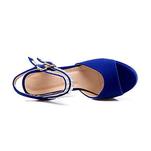 AllhqFashion Mujeres Tachonado Sintético Tacón ancho Puntera Abierta Hebilla Sandalia Azul