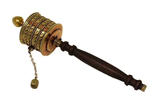 Tibetan Buddhist Hand Crafted Handheld Size Spinning Spiritual Prayer Wheel Top Design (Mani Wheel) (Brass)