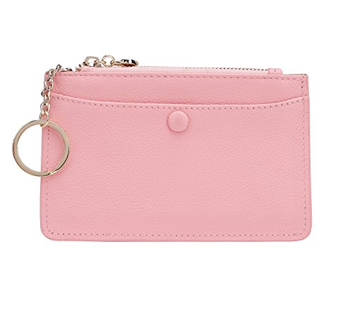 ZORESS Women Leather Mini Coin Purse Card Case With Key Ring Zipper Card Holder Wallet(Pink) -