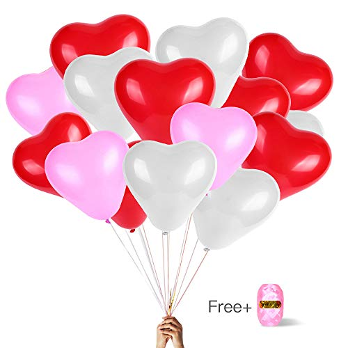 hongner Heart Shape Latex Balloons for Valentines Day,Propose Marriage,Wedding Party(White+Red +Pink) 3 Style, 12 Inch ()