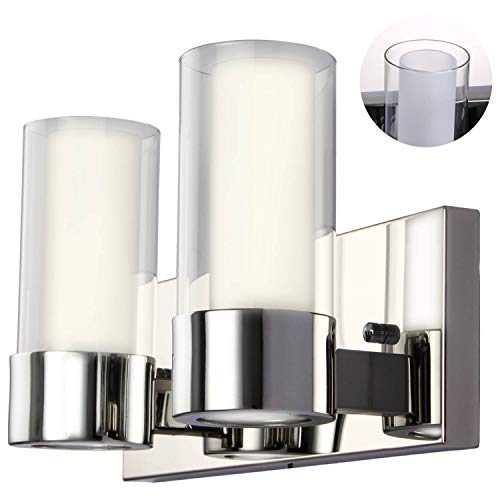 SUNVP 2-Light Bathroom Vanity Light Fixtures with Dual Glass Shade, Wall Sconce -