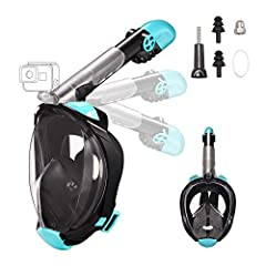 Letsport 180 degree panoramic view full face snorkel mask with anti-fog anti-leak design, camera mount, foldable snorkel tube and adjustable head straps is made of high quality PC and food grade silicone, Non-toxic and Environmental. After tw...