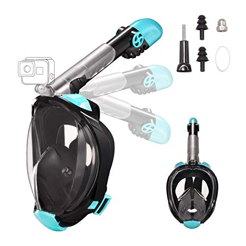 Letsport Snorkel Mask, Dual-Snorkel Full Face Snorkeling Mask for Adults, Foldable 180 Panoramic View Diving Mask, Anti-Fog Anti-Leak Snorkel Set with Detachable Camera Mount, Adjustable Head Straps (Best Diving Mask And Snorkel)