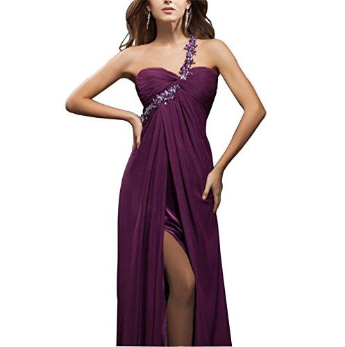 CoutureBridal® Robe Elégante Robe de Soirée Bal Cocktail sans Dos Asymétrique avec Fente Frontale Une Epaule de Bijoux