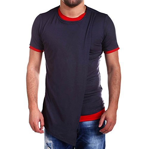 Sun Lorence Men Casual Short Sleeve Long Hem Hip Hop Slim Fit T Shirts Blue - Mens Melbourne Shopping