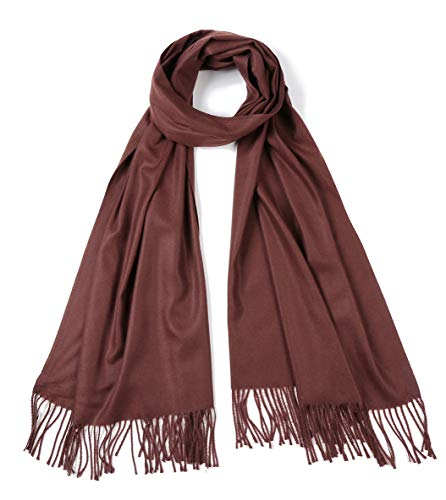 Cindy & Wendy Large Soft Cashmere Feel Pashmina Solid Shawl Wrap Scarf for Women -