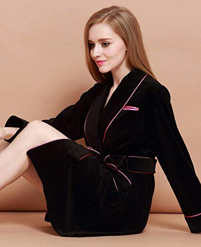 Camisones Bolsillos Albornoz Manga Mujer Moda Negro Caliente Laterales Cinturón Batas Larga Fit Con Pijamas Slim CfqCFT