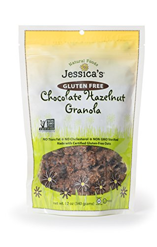 Jessica's Natural Foods Gluten Free Chocolate Hazelnut Granola 12 oz. - All Natural Granola Non GMO Breakfast Cereal and Snack, Certified Gluten Free - Chocolate Hazelnut (Hazelnut Cereal)