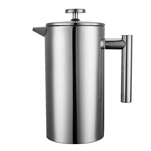cymas 8 cup stainless steel french press 34 oz coffee tea import it all. Black Bedroom Furniture Sets. Home Design Ideas