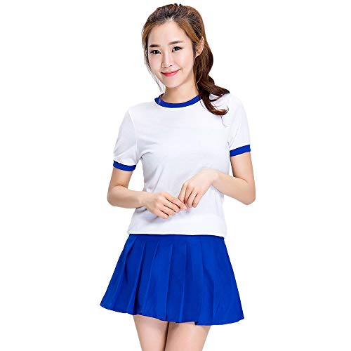 Student Cheerleading Costume, Women's Short-Sleeved Shirt + A-line Skirt Suit, Basketball Football Baby Stage Costume, Bar ds Costumes, Suitable for Halloween/Cosplay/Dance competitions