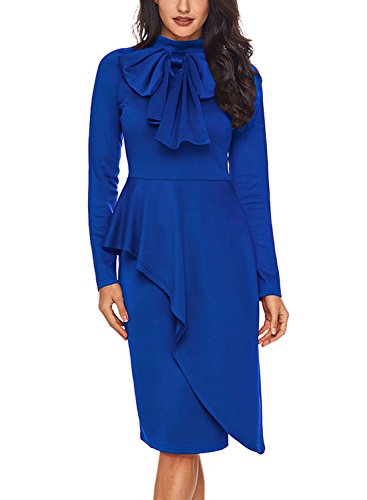 CICIDES Womens Tie Neck Peplum Waist Long Sleeve Bodycon Business Dress Blue XX-Large